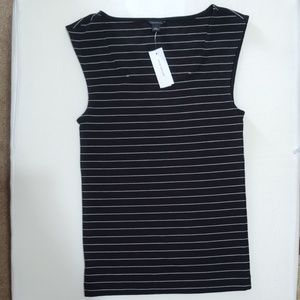Ann Taylor Black and White stripe top